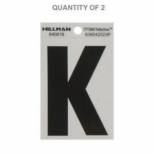 "Hillman 840818 3"" Letter K Reflective Sq-Cut Mylar, Black on Silver (2 Pack)"