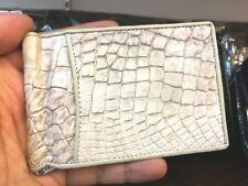 Genuine Crocodile Wallets Skin Leather Bifold Men's Money Clip White Handmade