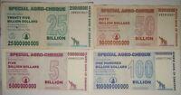 ZIMBABWE 5 25 50 AND 100 BILLION DOLLARS - CIRCULATED NOTES
