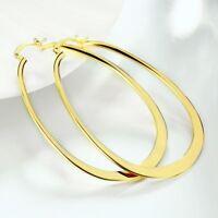 """2.8"""" 14k Gold Plated Fancy Flat Oval U Shaped Hoop Earrings ITALY MADE"""