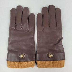 Gucci Men's Brown Lambskin Leather Tiger Logo Gloves 8.5/S 524047 9579