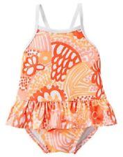 Gymboree Seashore Smiles Orange Floral One-Piece Swimsuit Baby Girl 6-12 Months