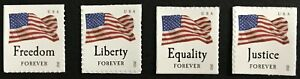 2012 #4641-4644 - Forever - FOUR FLAGS - Set of 4 Single Stamps - Mint NH