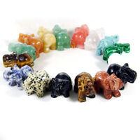 Hand Carved Elephant Natural Gemstone Jasper Turquoise Malachite Quartz Crystal