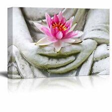 "Canvas Prints Wall Art - Buddha Hands Holding Flower | Wall Decor- 32"" x 48"""