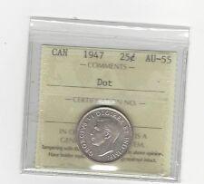 **1947 Dot** ICCS Graded Canadian, 25 Cent, **AU-55**