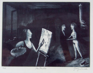 Garry SHEAD The Studio - Original Signed Etching, Framed, Limited Edition + LOP
