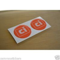 CI Caravan Motorhome - (RESIN DOMED) - Dent Cover Stickers Decal Graphics - PAIR