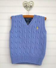 Boys RALPH LAUREN Sz 24m Blue Cable Knit Sweater Vest Top