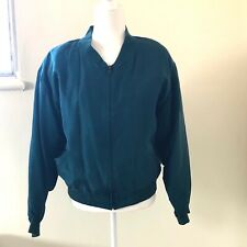 Vtg Naked Silk Teal Green Blue Bomber Jacket 80s 90s 100% Silk Sz Medium Unisex