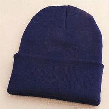 Men's Women Beanie Knit Ski Cap Hip-hop Blank Color Winter Warm Unisex Wool Hat Navy Blue
