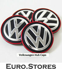VW Volkswagen Tiguan Red Chrome Center Wheel Caps Hub Caps Genuine New