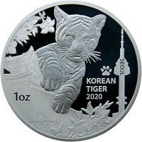 2020 Korea Tiger Proof 1 oz .999 Silver Coin Medal - 1,000 Made