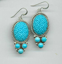 STERLING SILVER CARVED SLEEPING BEAUTY TURQUOISE EARRINGS