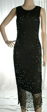 Jeffrey Rogers black crochet sequined long dress size 10 UK