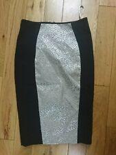 Karen Millen Black & Gold Panel Pencil Wiggle Skirt Size 8