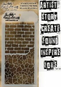 Tim Holtz Collection Stampers Anonymous  Stamps&Stencil Set 7pc Brick Wall SALE!