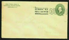 Newark, New Jersey NJ Machine Cancel on Stamped Envelope Postal Cover Used 1898