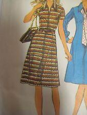 Vtg 70s Simplicity 5093 PRINCESS SEAMED DRESS w/ FRONT ZIP Sewing Pattern Women