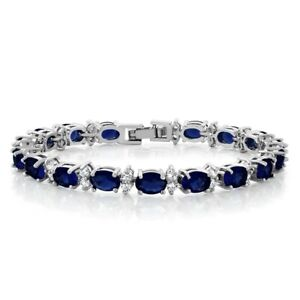 Gorgeous Oval And Round Blue Cubic Zirconia Cz Tennis Bracelet Jewelry Gift