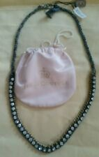 JUICY COUTURE WAR OF LOVE RIBBON & CHAIN NECKLACE Blue new with tags