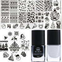 4Pcs Nail Stamping Plates Christmas Stamp Polish Nail Art Stencil Born Pretty