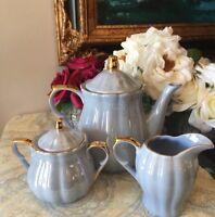 Grace's Teaware Iridescent Blue 5- Pc Tea Set NEW.