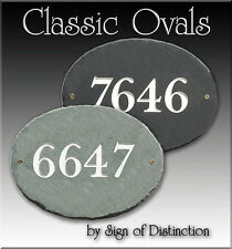 Oval 100% Natural Slate Address Plaque Sign Choose from 4 Color Combinations