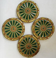 WAGON WHEEL Mosaic Handmade Ceramic Tile Coasters Forest Green Spokes Set of 4