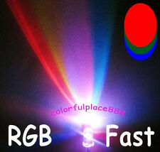 20pcs 5mm RGB Rainbow MultiColor Fast Flashing Flash Red Blue Green LED Leds + R
