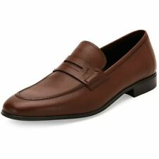 SALVATORE FERRAGAMO FIORINO 2 BROWN PEBBLED LEATHER PENNY LOAFERS US 10 EE