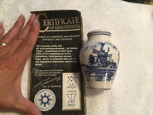 Dutch Delft Sm Vase Glazed Holland With Certificate Of Authenticity Blue Pottery