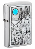 Zippo Wolf Pack and Moon Emblem Brushed Chrome Windproof Pocket Lighter, 49295