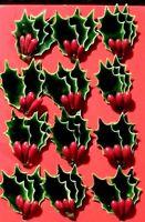 Fabulous Vintage Style Waxed Holly Leaf Christmas Embellishments - NIP