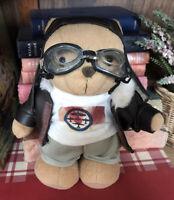 "Metro Vintage Aviation Pilot Teddy Bear Soft Toy Plush Jacket Goggles England 7"""