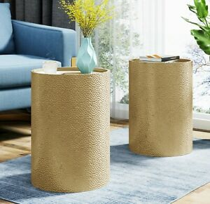 Table End Table Set of 2 Drum End Table Set