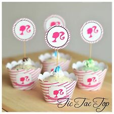 12x Barbie Doll Cupcake Toppers + Wrappers. Lolly Loot Bag Party Supplies Banner