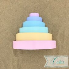 Wooden Pastel Rainbow Stacking Sort Colour 6 Blocks Educational Toy 🇬🇧27cm