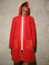 CHIC VINTAGE MANTEAU FOURRURE & VINYL 1970 VTG COAT 70s SEVENTIES RETRO (42)