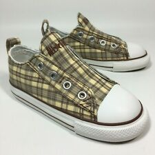 Boys Converse All Stars Laceless Slip On Plaid Trainers Shoes Size UK 10