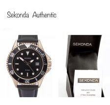 Sekonda Men's Watch Black Leather Strap With Rose Gold Case and Black Dial 1515