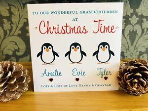 Handmade personalised Christmas Card Children Grandchildren Niece Nephew Penguin