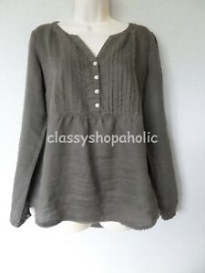 Marks and Spencer Khaki Linen Tunic Top - Size 12