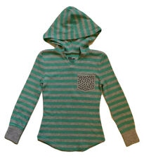 Epic Threads Girls Gray/Aqua Green Stripe Waffle Knit Hoodie Top Shirt Sz S NWOT