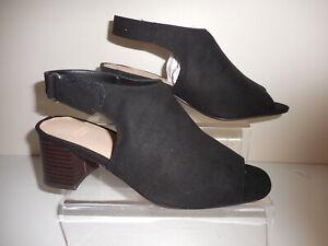Black Faux Suede Slingback Open Toe Shoes Size UK 5 Wide Fit (EEE) BNIB ~~ Evans