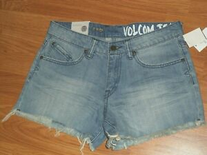 VOLCOM JEAN SHORTS SIZE 3 JUNIOR BLUE STRETCH DISTRESSED MSRP:$49.50 NWT