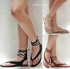 a69c3c6ad New Women SAle Black Tan Beige Lace String Flat Gladiator Thong Sandals