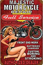 Majestic Motorcycle Repair rusted steel sign  460mm x 300mm   (pst 1812)