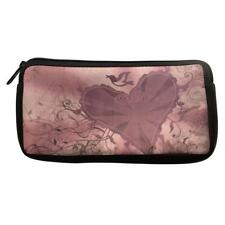 Light Purple Mauve Heart Dove Neoprene Pencil Case Cosmetic Bag Purse Organizer