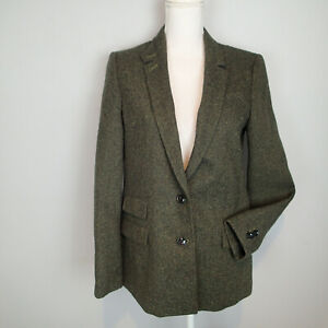 Banana Republic Women's Hacking Jacket Size 6 Blazer Green Tweed